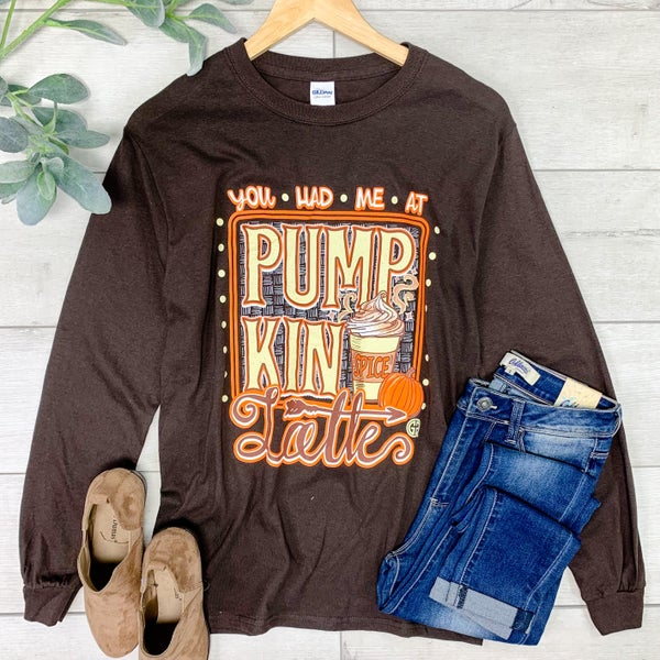 *Girlie Girl* LS Pumpkin Latte Tee, Brown *Final Sale*