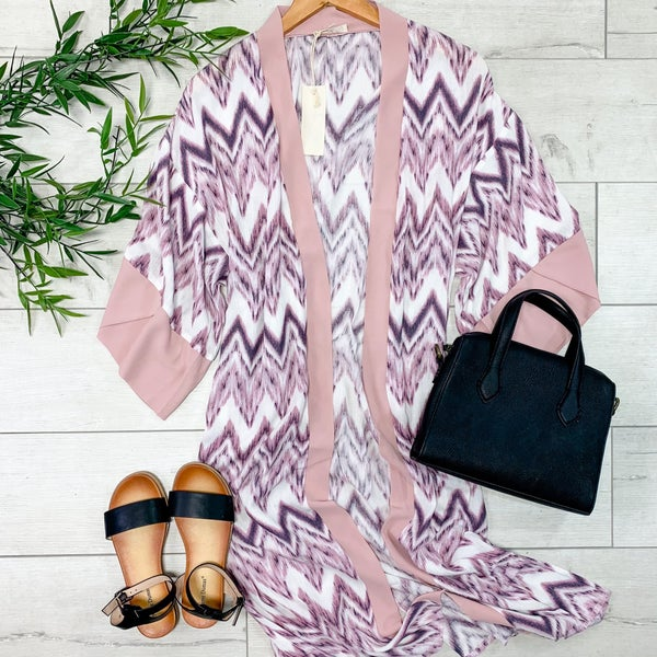 Chevron Patterned Kimono, Mauve *Final Sale*