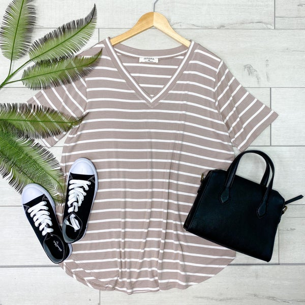 *PLUS* Striped V-Neck Top, Ash Mocha [[LIVE]]