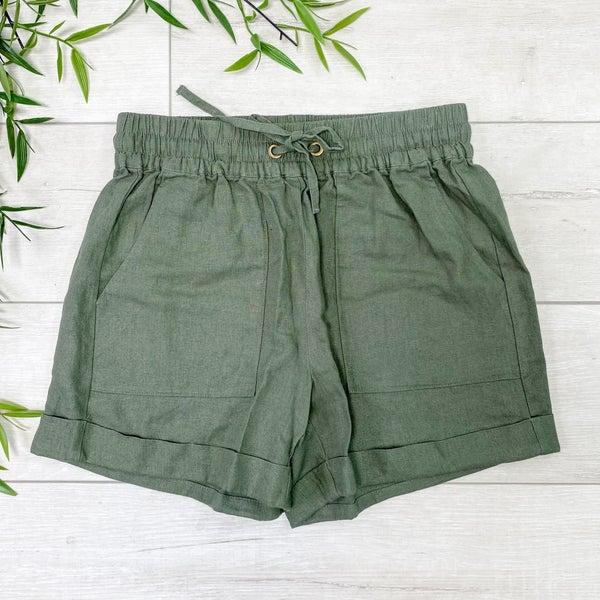 Drawstring Cuffed Linen Shorts w/Pockets, Light Olive