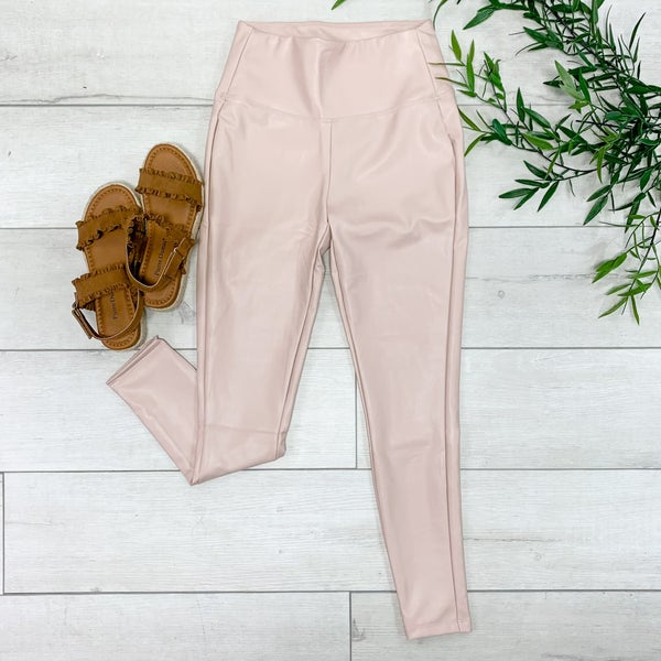 High Waisted Faux Leather Leggings, Dusty Blush
