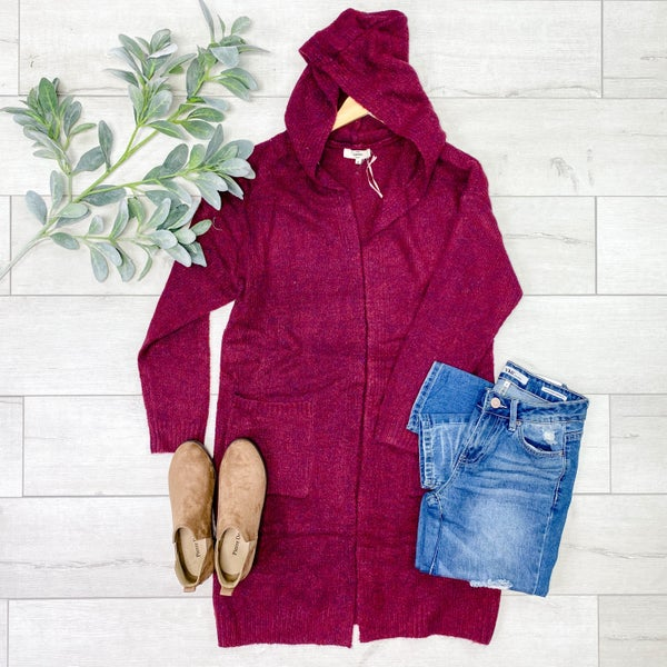 Hooded Cardigan w/Pcokets, Merlot