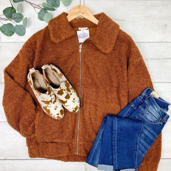 *Kendra's Collection* Cropped Zipper Front Teddy Jacket, Rust