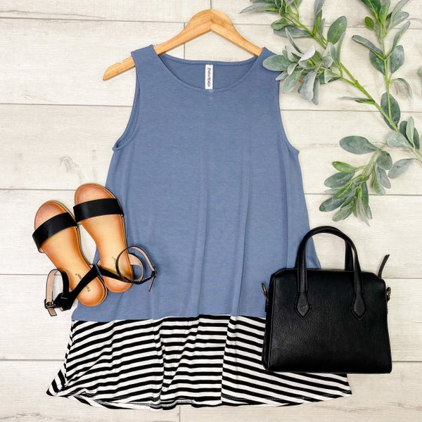 Sleeveless Striped Bottom Tunic, Cement [[LIVE]]