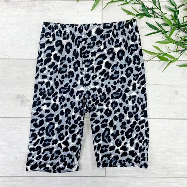 Leopard Print Biker Short, Tan Gray