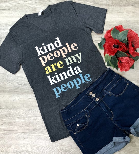 "*Kendra's Collection* ""My Kinda People"" V-Neck T-Shirt, Charcoal"