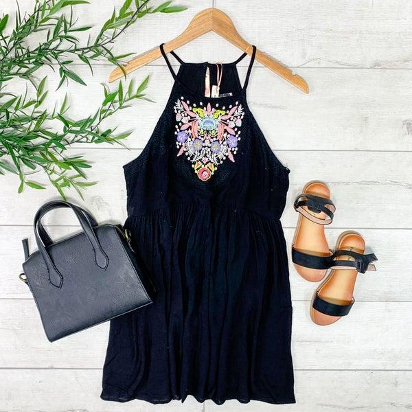 Halter Neck Embroidered Dress, Black