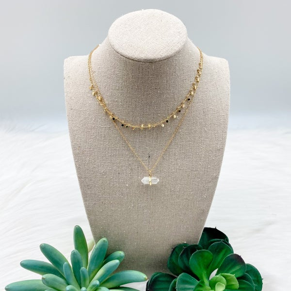 Short Layered Crystal Stone Necklace, Gold
