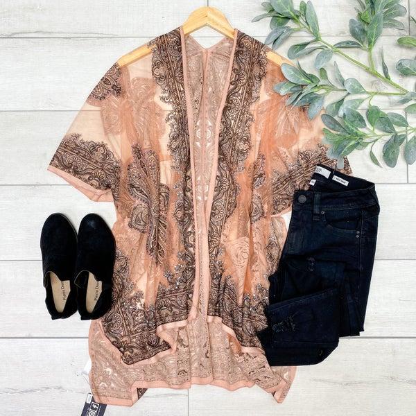 Paisley Print Sheer Kimono, Blush [[LIVE]]
