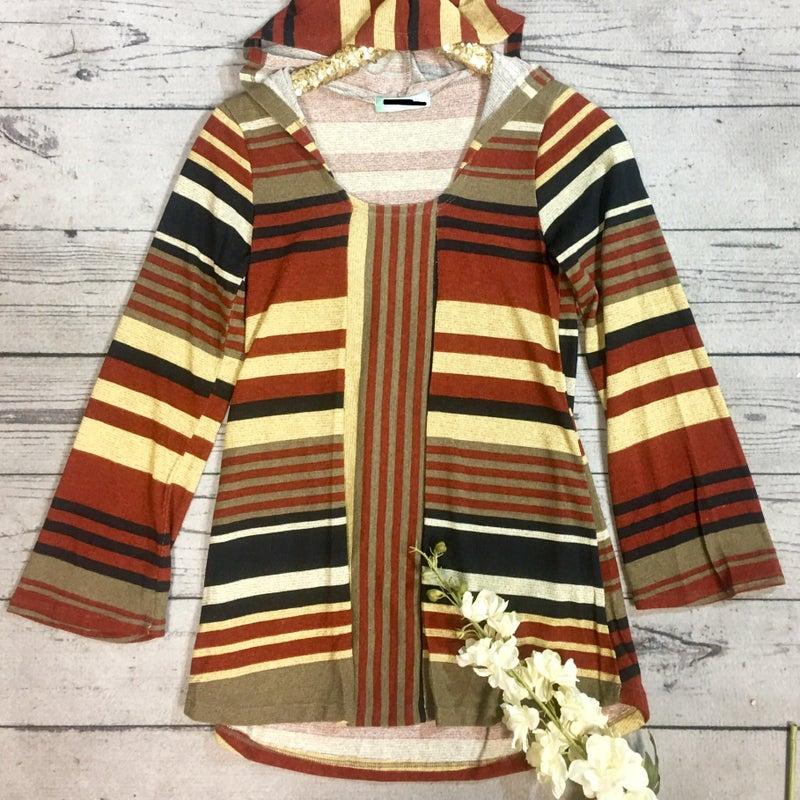 Stripe Top Hoodie W/Flare Sleeve-Mocha/Rust/Navy (N) *Final Sale*