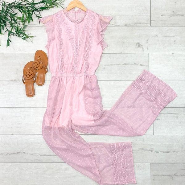 Textured Ruffle Trim Jumpsuit, Pink *Final Sale*