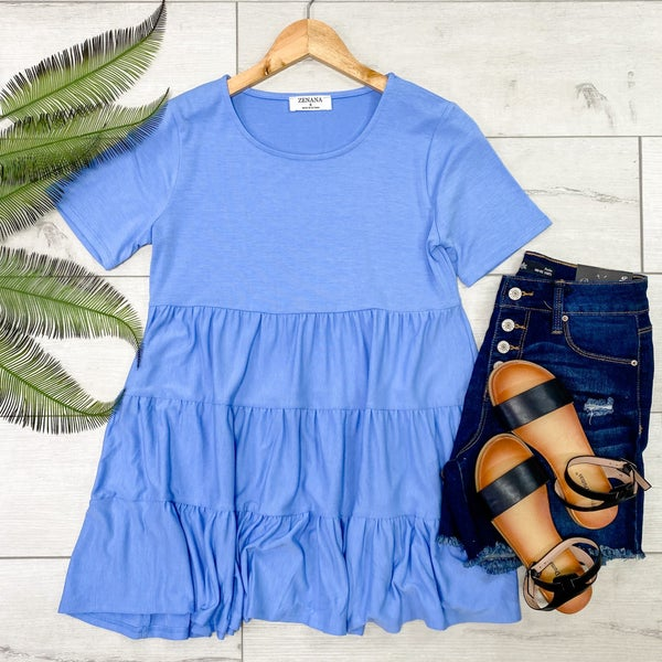 Ruffle Tiered Tunic, Spring Blue