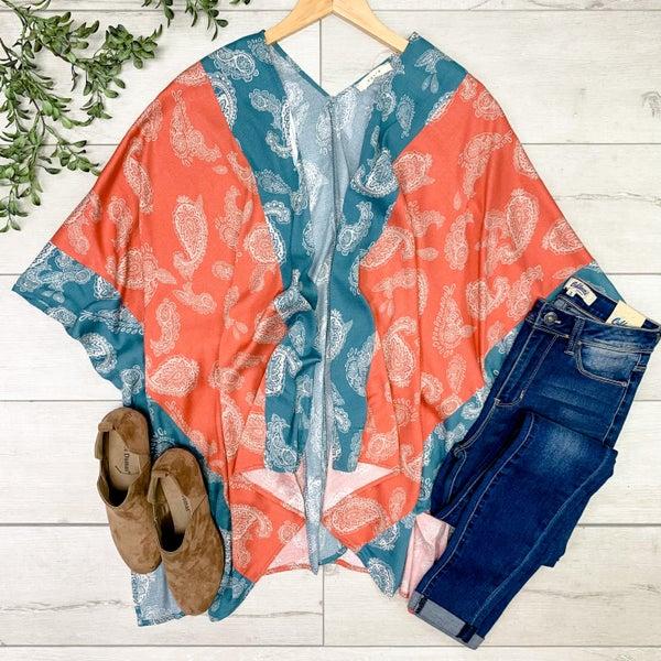 Paisley Print Kimono, Rust
