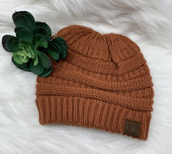 "CC ""Messy Bun"" PonyTail Beanie, Rust *$5* [FINAL SALE]"