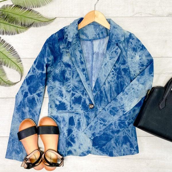 Tie Dye Denim Washed Blazer, Blue