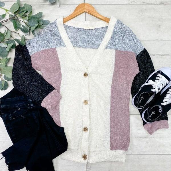 Color Block Cardigan, Charcoal