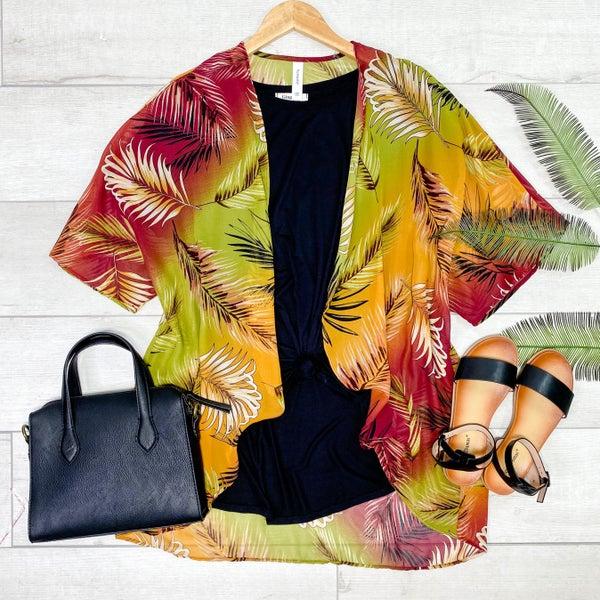 Leaf Print Kimono, Olive