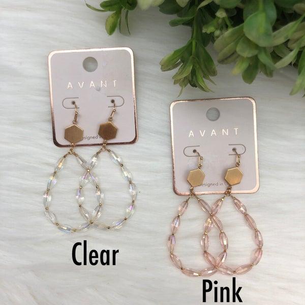 Teardrop Glass Dangle Earrings