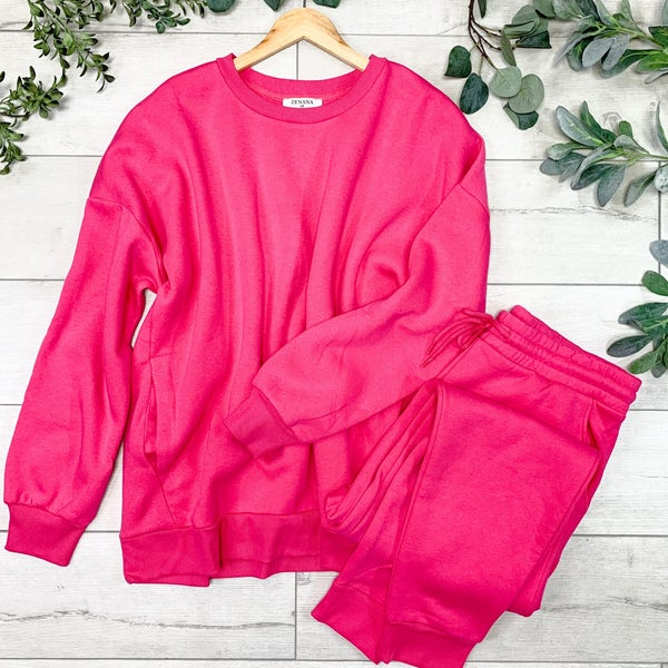 *PLUS* Pullover and Pants Set, Fuchsia