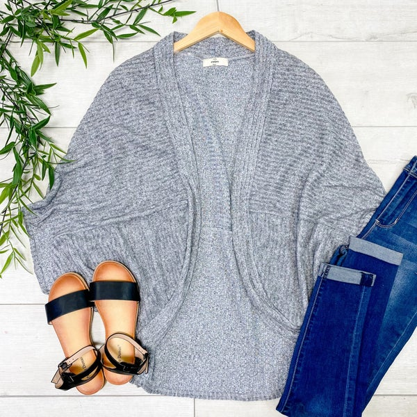 Rib Knit Cardigan, Heather Gray