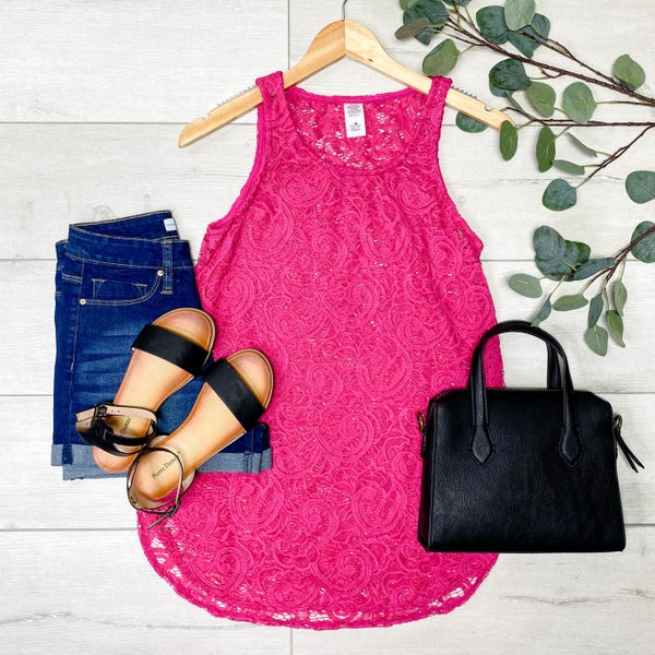 Sleeveless lace Top, Hot Pink