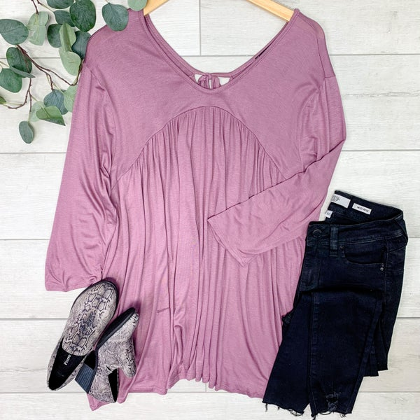 *PLUS* Solid Tie Back Tunic Top, Mauve