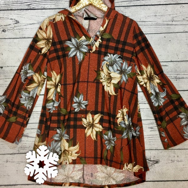 Floral Plaid Hooded Tunic - RUST (N) *LAST CALL - $5* [FINAL SALE]