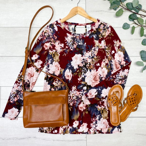 Contrast Floral and Animal Print Tulip Back Top, Burgundy