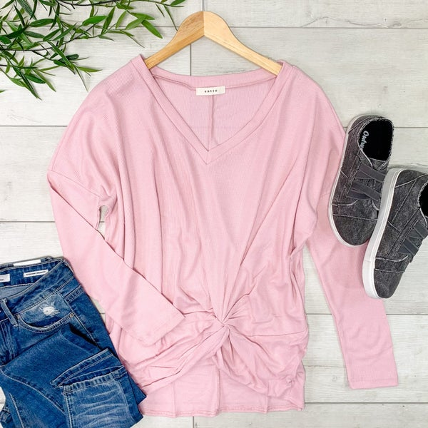 Rib Knit Front Knot V-Neck Top,  Light Pink