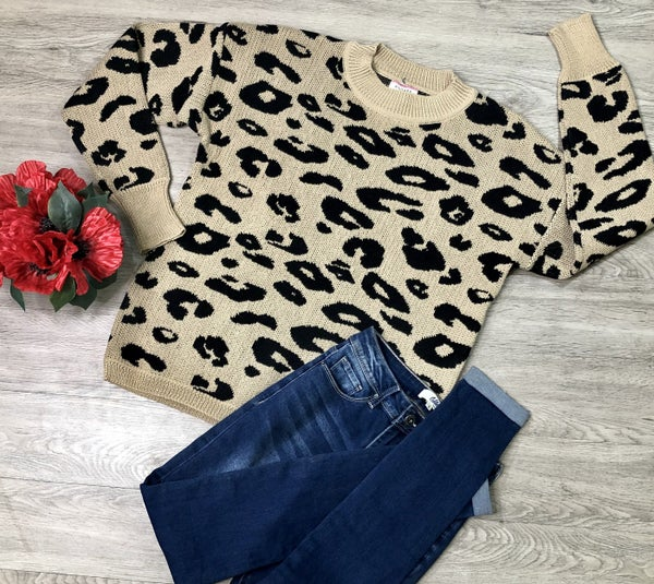 *Kendra's Collection* Animal Print Sweater, Mocha **FINAL SALE**