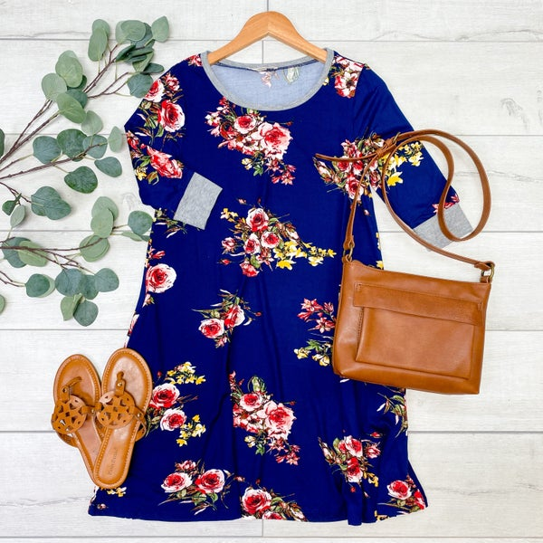 Floral Swing Dress with Pockets, Navy