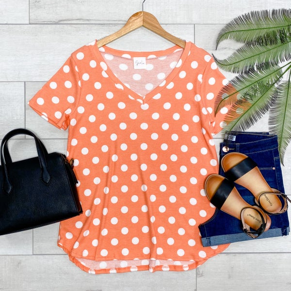 *Kendra's Collection* V-Neck Polka Dot Short Sleeve Top, Coral