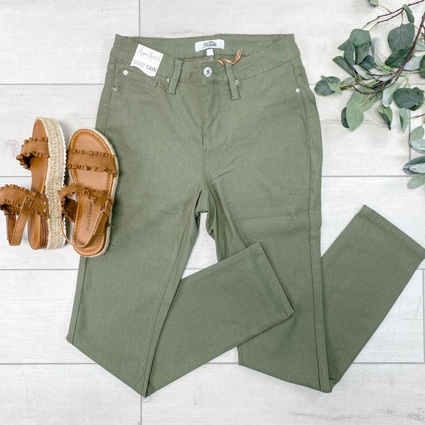 *YMI*PLUS--Hyper-Stretch Forever Color Skinnies, Summer Olive