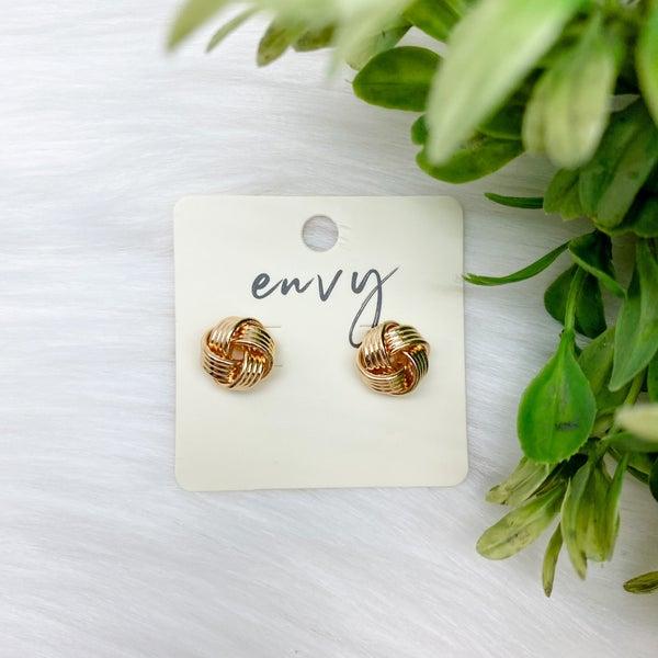 Shiny Knot Stud Earring, Gold