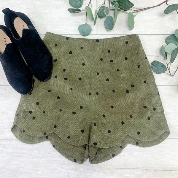 Polka Dot Scalloped Shorts, Olive