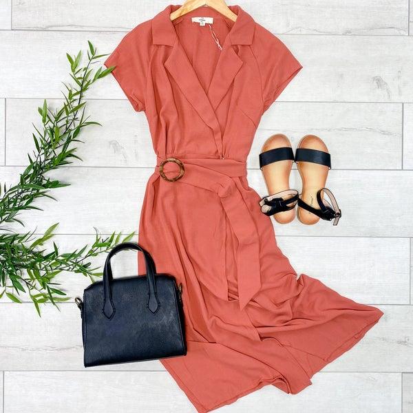 Collared Wrap Midi Dress, Dark Salmon