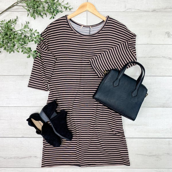 Striped Dress w/Accent Buttons, Mocha/Black
