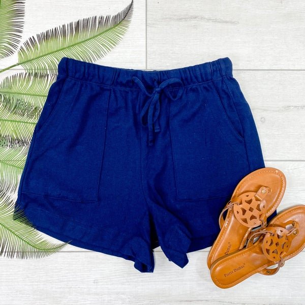 Solid Drawstring Shorts, Navy