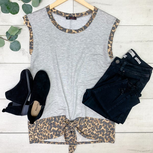 Sleeveless Cheetah Contrast Front Knot Top, Gray