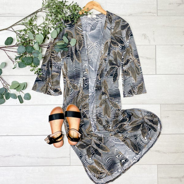 Marble Leaf Patterned Cardigan, Grey
