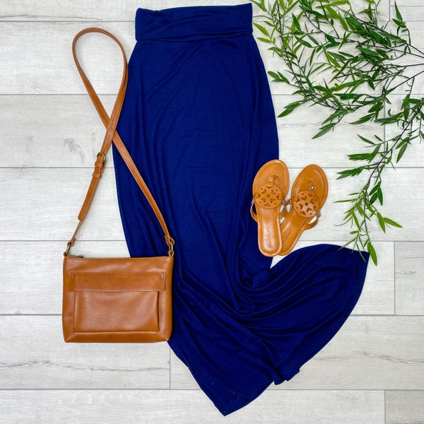 Relaxed Fit Maxi Skirt, Navy [[LIVE]]