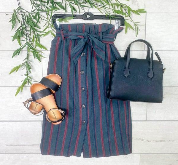 Paper Bag Button Down Striped Midi Skirt w/ Pockets, Hunter Green
