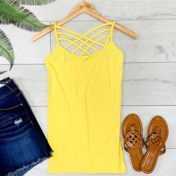 Criss Cross Neck Cami, Yellow