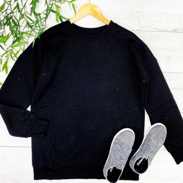 Long Sleeve Round Neck Sweatshirt w/ Pockets, Black