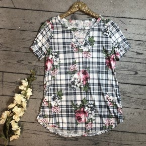 Floral & Plaid Top w/ Caged Neck- Mint(N) *LAST CALL - $5* [FINAL SALE]