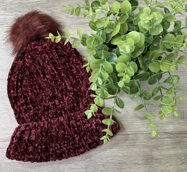 Chenille Beanie w/ Pom, Burgundy *$3* [FINAL SALE]
