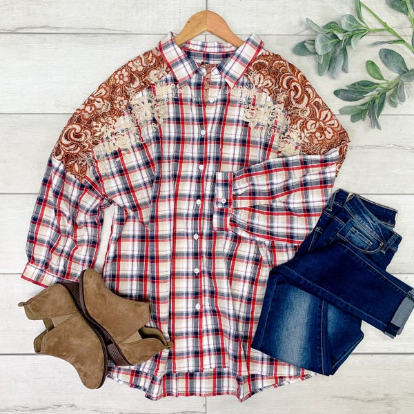 *PLUS* Plaid Button Down Top w/Embroidery,  Red