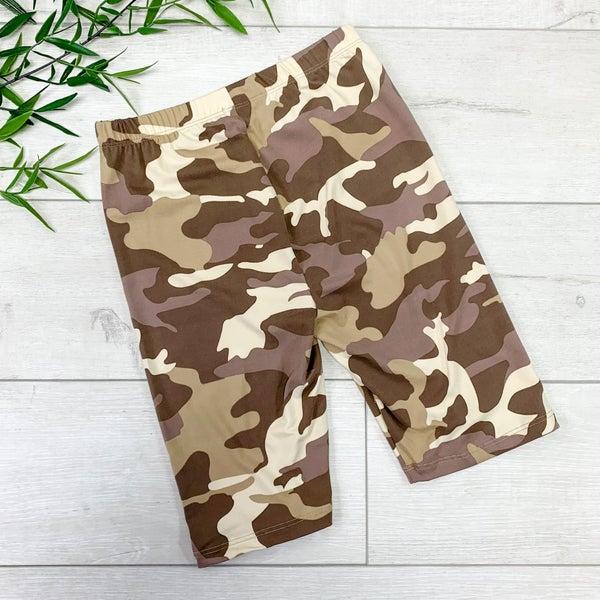 Camo Biker Shorts, Desert Camo