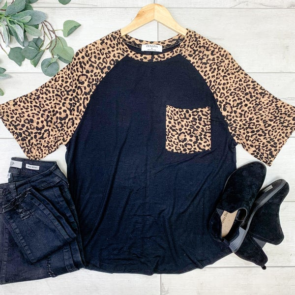 Leopard Sleeve Raglan, Black