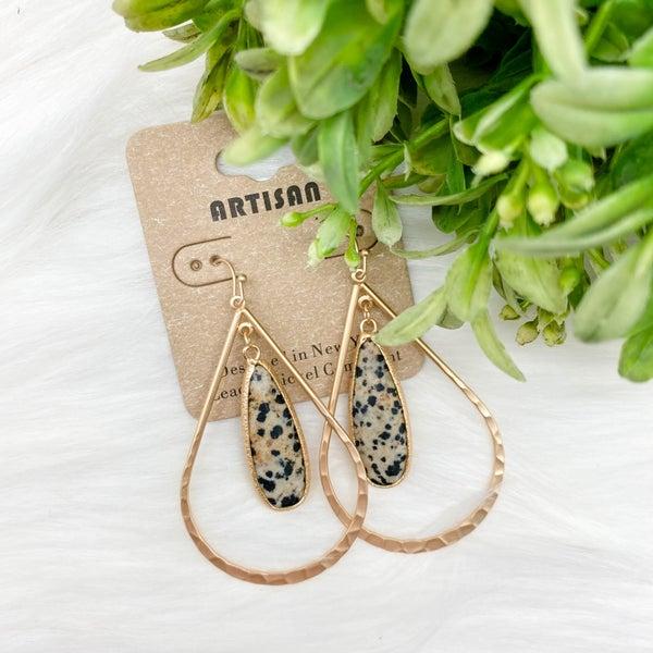 Teardrop w/ Stone Earrings, Dalmatian